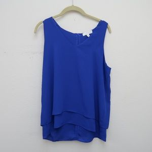 Kenar Blue Layer V-Neck Top Zip Sleeveless Blouse